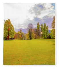 Fleece Blanket featuring the photograph Golf Green by Mats Silvan