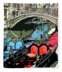 Gondolas Fresco  Fleece Blanket
