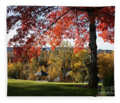 Gonzaga With Autumn Tree Canopy Fleece Blanket