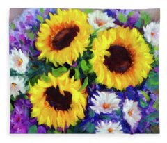 Good Day Sunflowers Fleece Blanket