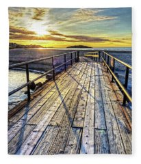 Good Harbor Beach Footbridge Shadows Fleece Blanket
