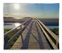 Good Harbor Beach Footbridge Sunny Shadow Fleece Blanket