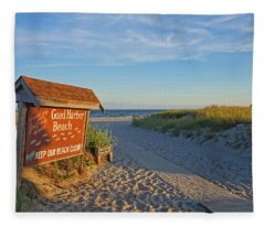 Good Harbor Sign At Sunset Fleece Blanket