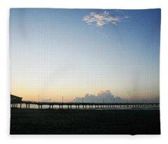 Good Morning Coastal Pier Fleece Blanket
