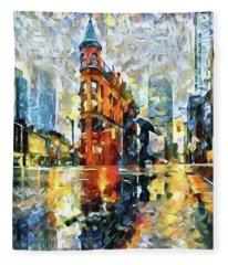 Gooderham Flatiron Building In The Rain Fleece Blanket