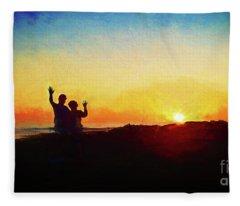 Goodnight Mr. Sun  Fleece Blanket