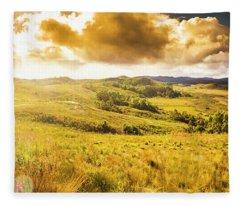 Gorgeous Golden Sunset Field  Fleece Blanket
