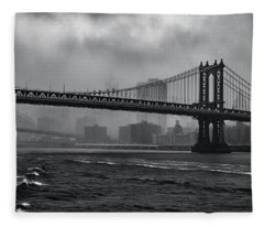 Manhattan Bridge In A Storm Fleece Blanket