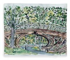 Gothic Bridge, Central Park Fleece Blanket