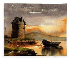 0756 Grace O' Malleys Castle, Rockfleet, Mayo Fleece Blanket