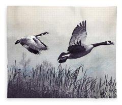 Graceful Geese Fleece Blanket