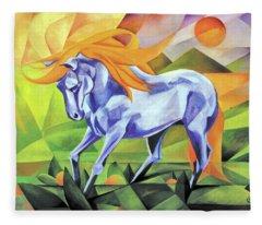 Graceful Stallion With Flaming Mane Fleece Blanket