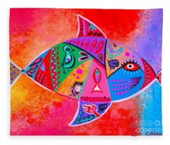 Graffiti Fish Fleece Blanket