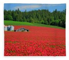 Grain Bins Barn Red Clover Fleece Blanket