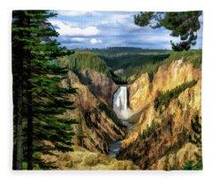 Grand Canyon Of The Yellowstone Waterfall Fleece Blanket
