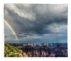 Grand Canyon Stormy Double Rainbow Fleece Blanket