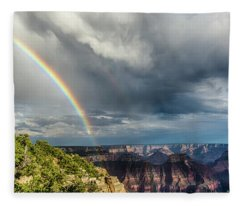 Grand Canyon Stormy Double Rainbow Fleece Blanket