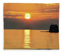 Grand Haven Lighthouse And Pier In Michigan Fleece Blanket