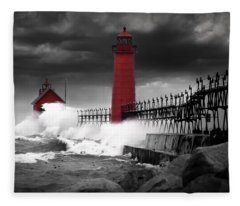 Grand Haven Lighthouse In A Rain Storm Fleece Blanket