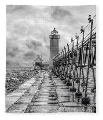 Grand Haven Lighthouse - Monochome Fleece Blanket