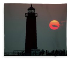 Grand Haven Michigan Lighthouse Sun Three Colors Fleece Blanket