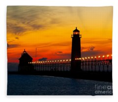 Grand Haven Sunset Fleece Blanket