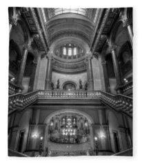 Grand Staircase Illinois State Capitol B W Fleece Blanket