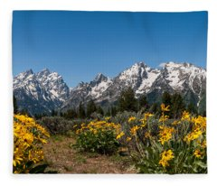 Grand Teton Arrow Leaf Balsamroot Fleece Blanket