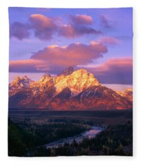 Grand Teton Sunrise Fleece Blanket