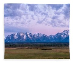 Grand Tetons Before Sunrise Panorama - Grand Teton National Park Wyoming Fleece Blanket