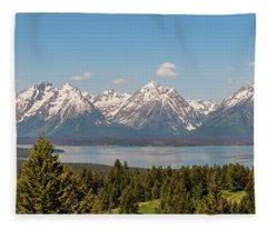 Grand Tetons Over Jackson Lake Panorama Fleece Blanket