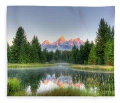 Grand Tetons Sunrise 2 Fleece Blanket