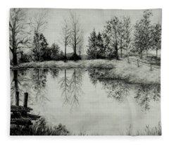 Grandpa's Pond Fleece Blanket