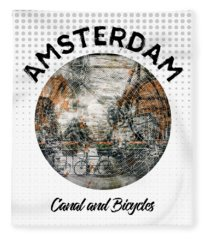Graphic Art Amsterdam Canal And Bicycles Fleece Blanket