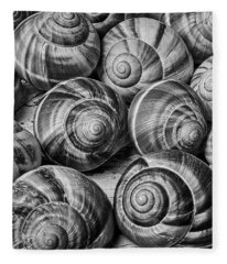 Graphic Snail Shells In Black And White Fleece Blanket