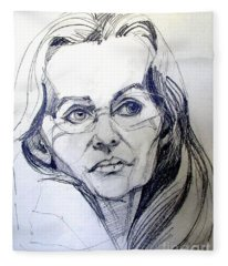 Graphite Portrait Sketch Of A Woman With Glasses Fleece Blanket