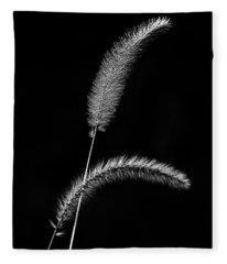 Grass In Black And White Fleece Blanket
