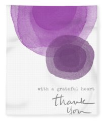 Grateful Heart Thank You- Art By Linda Woods Fleece Blanket