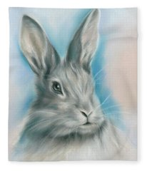 Gray Bunny Rabbit On Blue Fleece Blanket