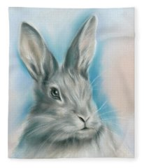 Gray Bunny Rabbit On Blue Fleece Blanket