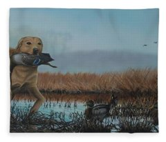 Gray Day Mallards Fleece Blanket