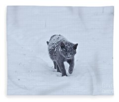 Gray On White Fleece Blanket