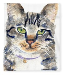 Gray Tabby Cat Watercolor Fleece Blanket