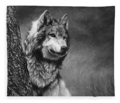 Gray Wolf - Black And White Fleece Blanket
