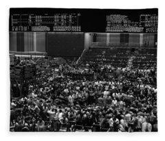 Grayscale Panoramic View Of Chicago Mercantile Exchange Fleece Blanket