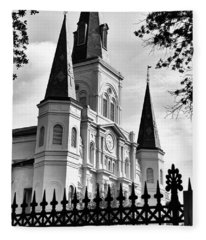 Grayscale St. Louis Cathedral Fleece Blanket