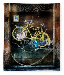 Grazie Yellow Bicycle Fleece Blanket
