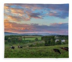 Grazing At Sunset Fleece Blanket