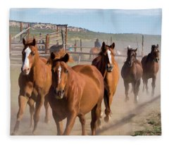 Great American Horse Drive - Coming Into The Corrals Fleece Blanket