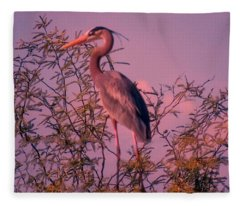 Great Blue Heron - Artistic 6 Fleece Blanket